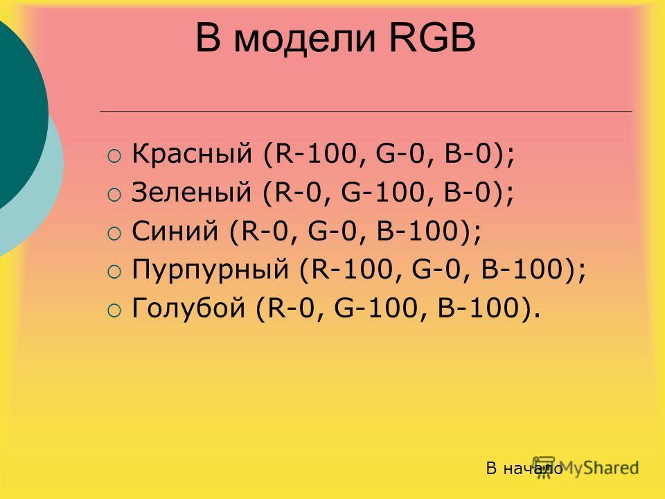 В модели RGB Красный (R-100, G-0, B-0); Зеленый (R-0, G-100, B-0); Синий (R-0, G-0, B-100); Пурпурный (R-100, G-0, B-100); Голубой (R-0, G-100, B-100). В начало