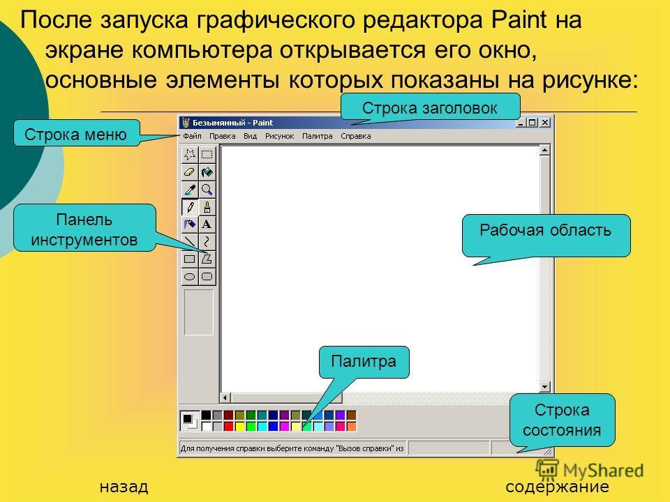 После запуска графического редактора Paint на экране компьютера открывается его окно, основные элементы которых показаны на рисунке: Рабочая область Строка состояния Строка заголовок Палитра Панель инструментов Строка меню содержание назад