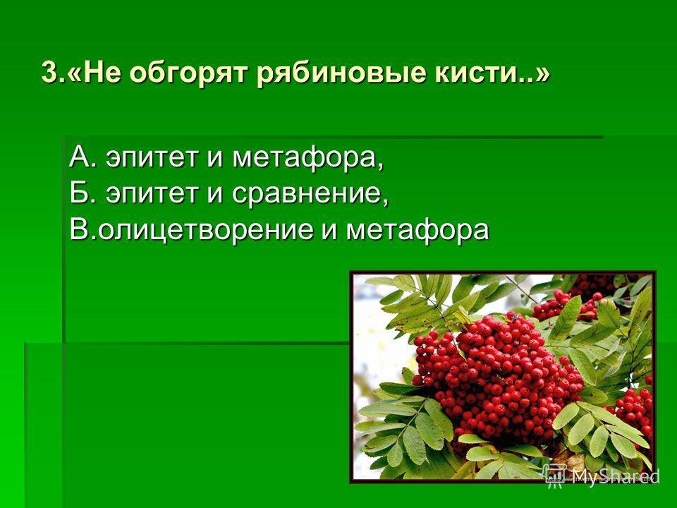А. сравнение, Б. метафора, В. эпитет 2.«Тучки небесные, вечные странники»