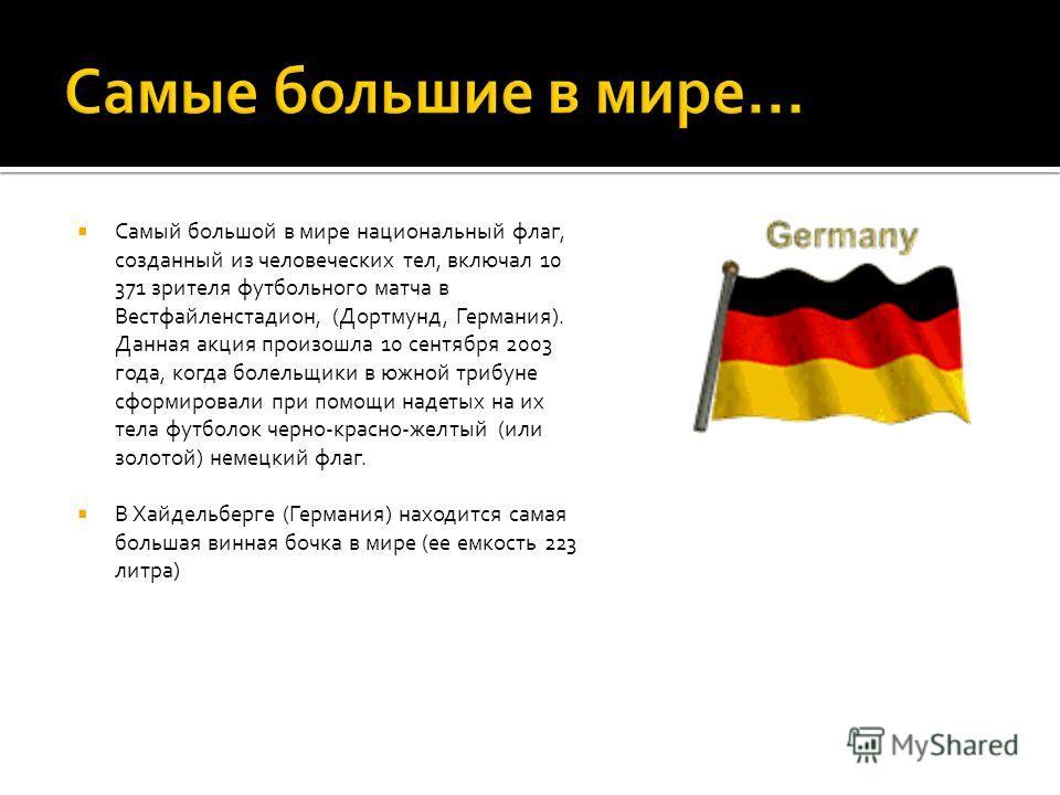 Самый большой в мире национальный флаг, созданный из человеческих тел, включал 10 371 зрителя футбольного матча в Вестфайленстадион, (Дортмунд, Германия). Данная акция произошла 10 сентября 2003 года, когда болельщики в южной трибуне сформировали при