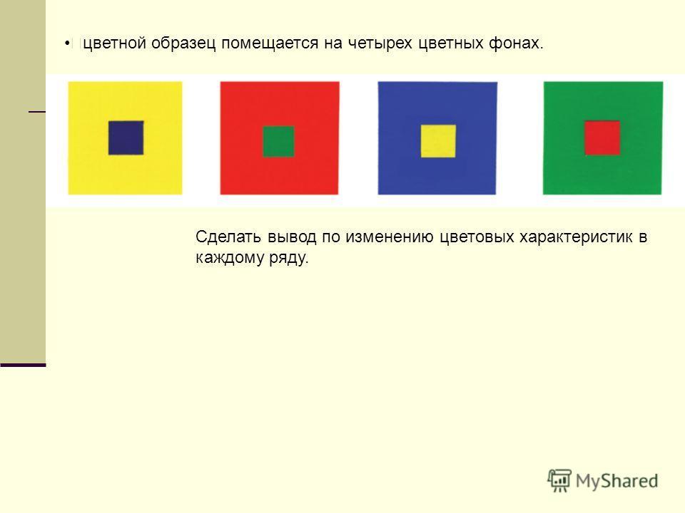 цветной образец помещается на четырех цветных фонах. Сделать вывод по изменению цветовых характеристик в каждому ряду.