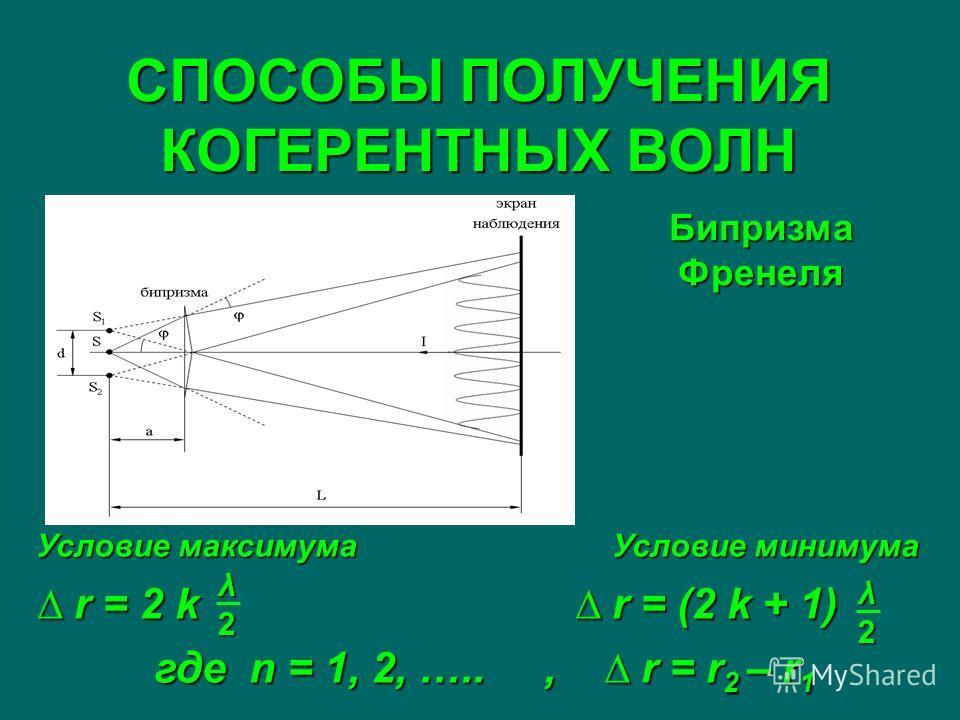 СПОСОБЫ ПОЛУЧЕНИЯ КОГЕРЕНТНЫХ ВОЛН Бипризма Френеля Условие максимума Условие минимума r = 2 k r = (2 k + 1) r = 2 k r = (2 k + 1) где n = 1, 2, ….., r = r 2 – r 1 λ2λ2λ2λ2 λ2λ2λ2λ2
