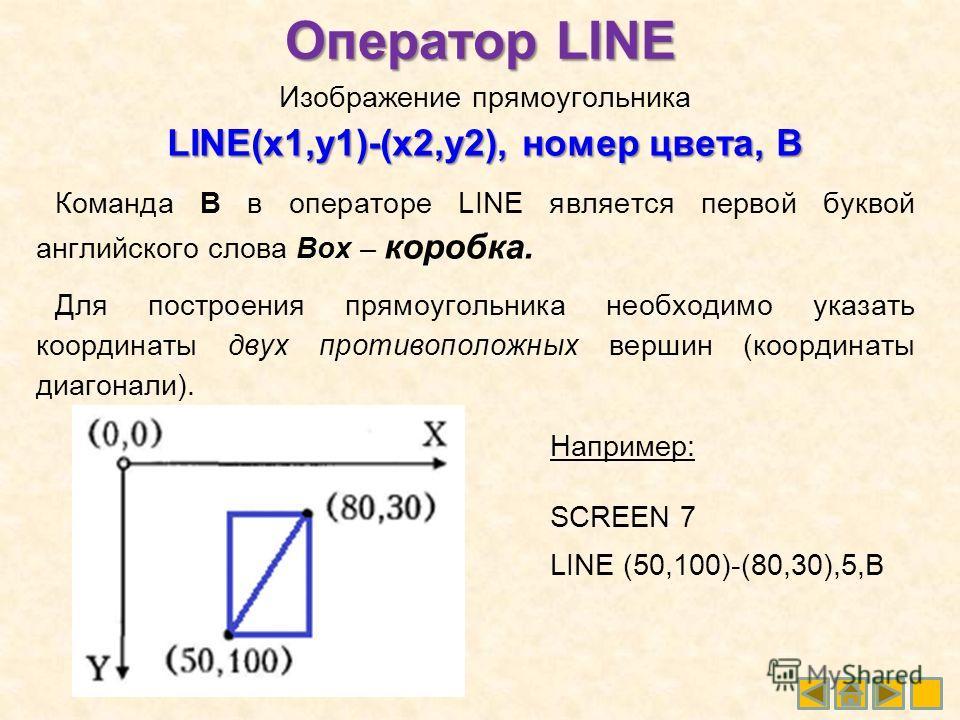Изображение прямоугольника LINE(x1,y1)-(x2,y2), номер цвета, В Команда В в операторе LINE является первой буквой английского слова Box – коробка. Для построения прямоугольника необходимо указать координаты двух противоположных вершин (координаты диаг