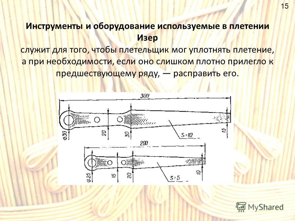 Инструменты и оборудование используемые в плетении Изер служит для того, чтобы плетельщик мог уплотнять плетение, а при необходимости, если оно слишком плотно прилегло к предшествующему ряду, расправить его. 15