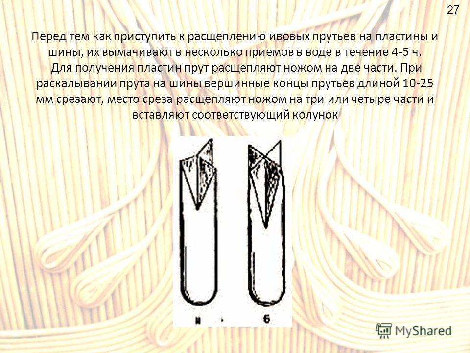 Перед тем как приступить к расщеплению ивовых прутьев на пластины и шины, их вымачивают в несколько приемов в воде в течение 4-5 ч. Для получения пластин прут расщепляют ножом на две части. При раскалывании прута на шины вершинные концы прутьев длино