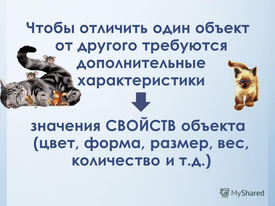 Чтобы отличить один объект от другого требуются дополнительные характеристики значения СВОЙСТВ объекта (цвет, форма, размер, вес, количество и т.д.)