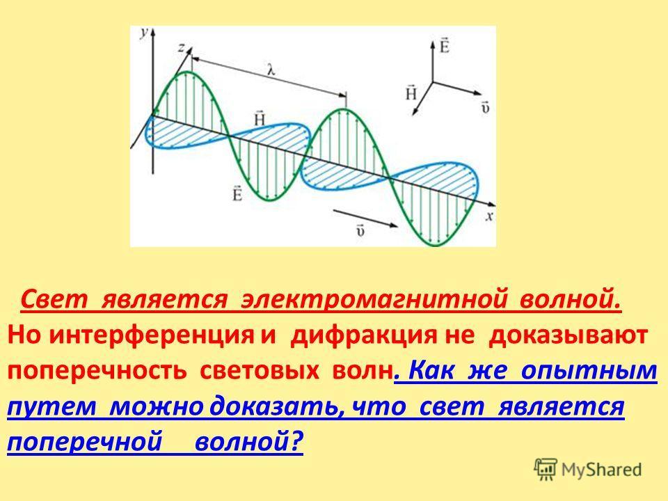 основное свойство электромагнитных волн – поперечность колебаний векторов напряжённости электрического и магнитного полей по отношению к направлению распространения волны (рис. 11.1). Свет является электромагнитной волной. Но интерференция и дифракци