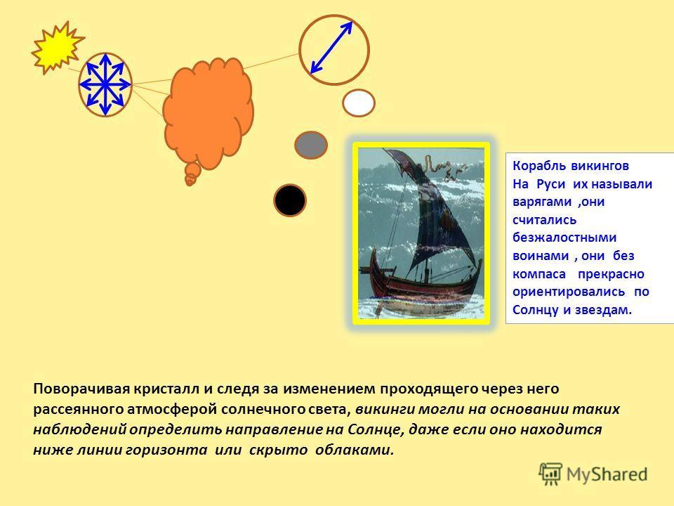 Поворачивая кристалл и следя за изменением проходящего через него рассеянного атмосферой солнечного света, викинги могли на основании таких наблюдений определить направление на Солнце, даже если оно находится ниже линии горизонта или скрыто облаками.
