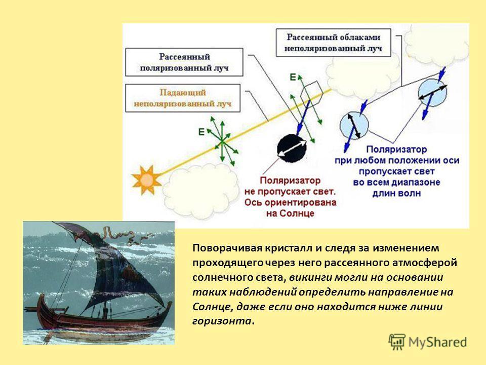 Поворачивая кристалл и следя за изменением проходящего через него рассеянного атмосферой солнечного света, викинги могли на основании таких наблюдений определить направление на Солнце, даже если оно находится ниже линии горизонта.