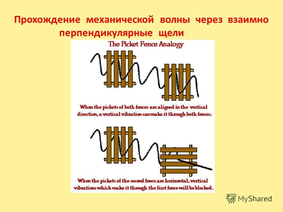 Прохождение механической волны через взаимно перпендикулярные щели