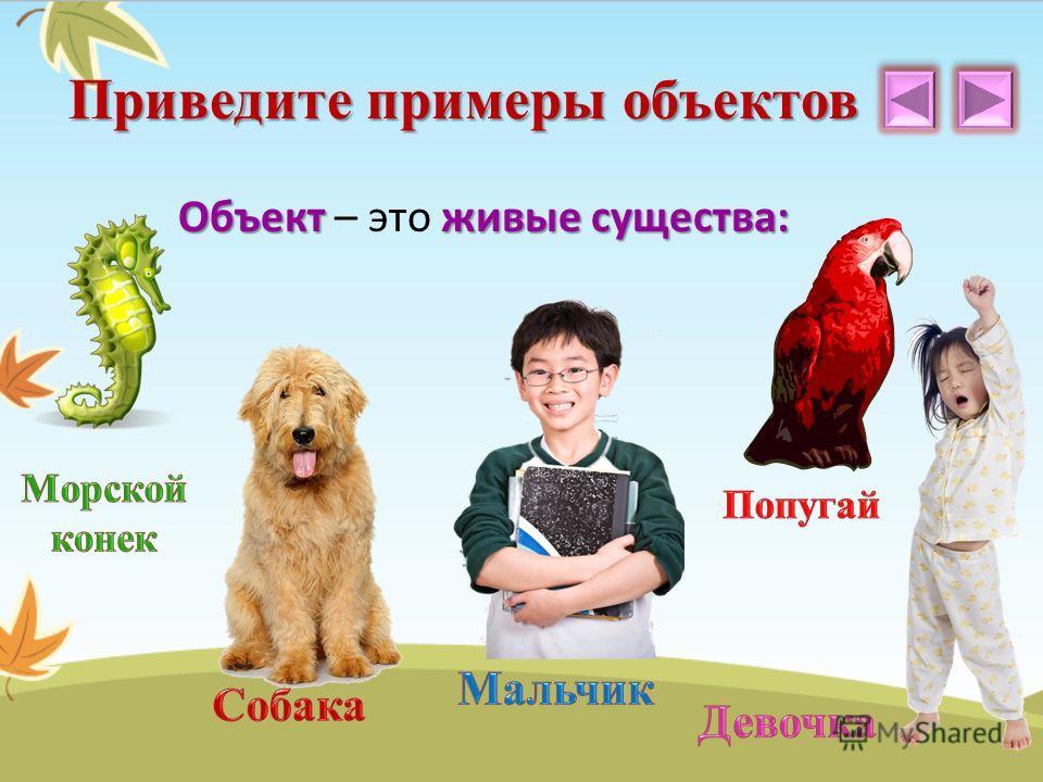 Объектживые существа: Объект – это живые существа: Приведите примеры объектов