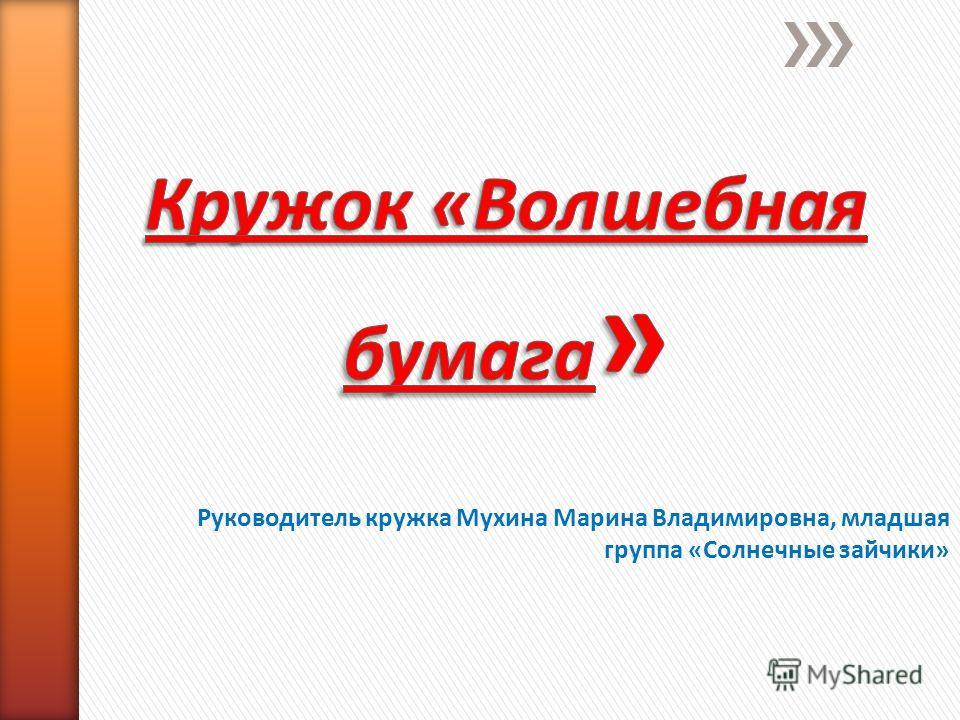 Руководитель кружка Мухина Марина Владимировна, младшая группа «Солнечные зайчики»