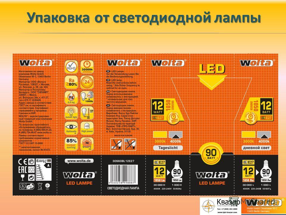 Упаковка от светодиодной лампы