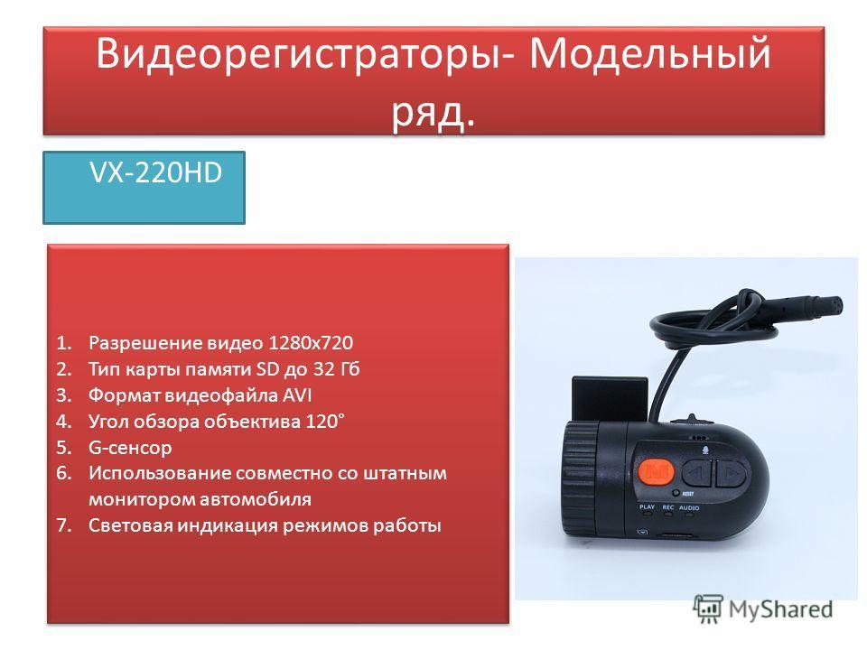 Видеорегистраторы- Модельный ряд. VX-220HD 1. Разрешение видео 1280 х 720 2. Тип карты памяти SD до 32 Гб 3. Формат видеофайла AVI 4. Угол обзора объектива 120° 5.G-сенсор 6. Использование совместно со штатным монитором автомобиля 7. Световая индикац