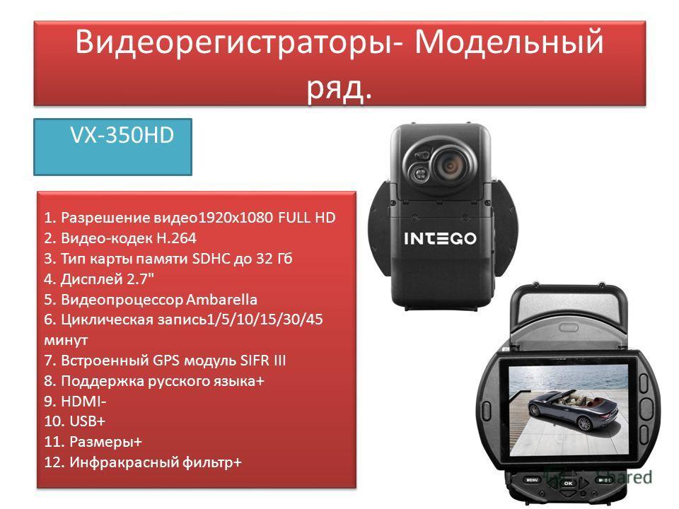 Видеорегистраторы- Модельный ряд. VX-350HD 1. Разрешение видео 1920 х 1080 FULL HD 2. Видео-кодек H.264 3. Тип карты памяти SDHC до 32 Гб 4. Дисплей 2.7