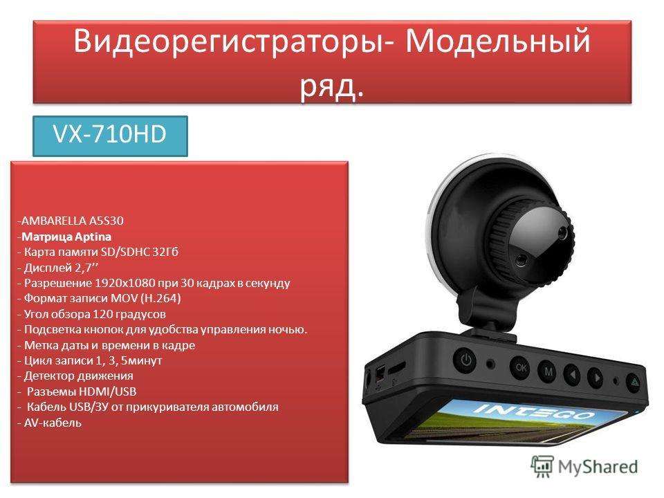Видеорегистраторы- Модельный ряд. VX-710HD -AMBARELLA A5S30 -Матрица Aptina - Карта памяти SD/SDHC 32Гб - Дисплей 2,7 - Разрешение 1920 х 1080 при 30 кадрах в секунду - Формат записи MOV (Н.264) - Угол обзора 120 градусов - Подсветка кнопок для удобс
