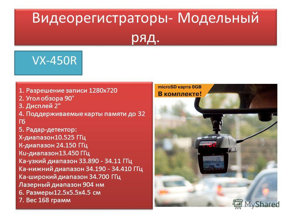 Видеорегистраторы- Модельный ряд. VX-450R 1. Разрешение записи 1280 х 720 2. Угол обзора 90° 3. Дисплей 2
