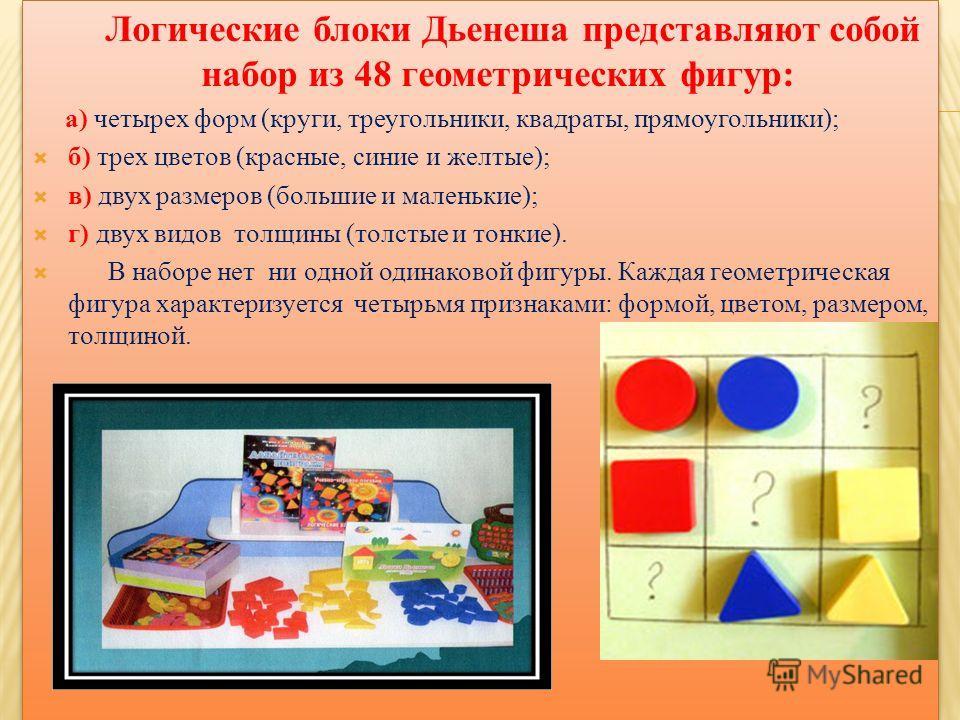 Логические блоки Дьенеша представляют собой набор из 48 геометрических фигур: а) четырех форм (круги, треугольники, квадраты, прямоугольники); б) трех цветов (красные, синие и желтые); в) двух размеров (большие и маленькие); г) двух видов толщины (то