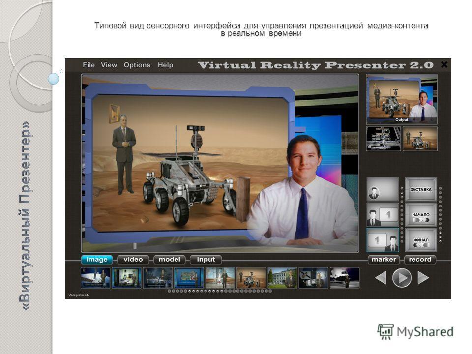 Типовой вид сенсорного интерфейса для управления презентацией медиа-контента в реальном времени