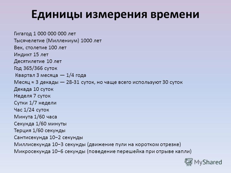 Единицы измерения времени Гигагод 1 000 000 000 лет Тысячелетие (Миллениум) 1000 лет Век, столетие 100 лет Индикт 15 лет Десятилетие 10 лет Год 365/366 суток Квартал 3 месяца 1/4 года Месяц 3 декады 28-31 суток, но чаще всего используют 30 суток Дека