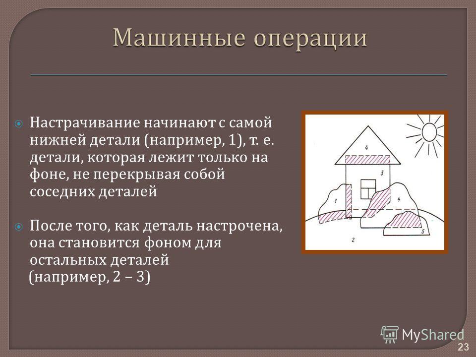 Настрачивание начинают с самой нижней детали ( например, 1), т. е. детали, которая лежит только на фоне, не перекрывая собой соседних деталей После того, как деталь настрочена, она становится фоном для остальных деталей ( например, 2 – 3) 23