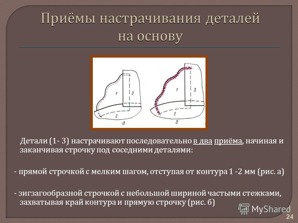 24 Детали (1- 3) н застрачивают последовательно в д ва приёма, начиная и заканчивая строчку п од соседними деталями : - прямой строчкой с мелким шагом, отступая о т контура 1 -2 м м ( рис. а ) - зигзагообразной строчкой с небольшой ш ириной частыми с