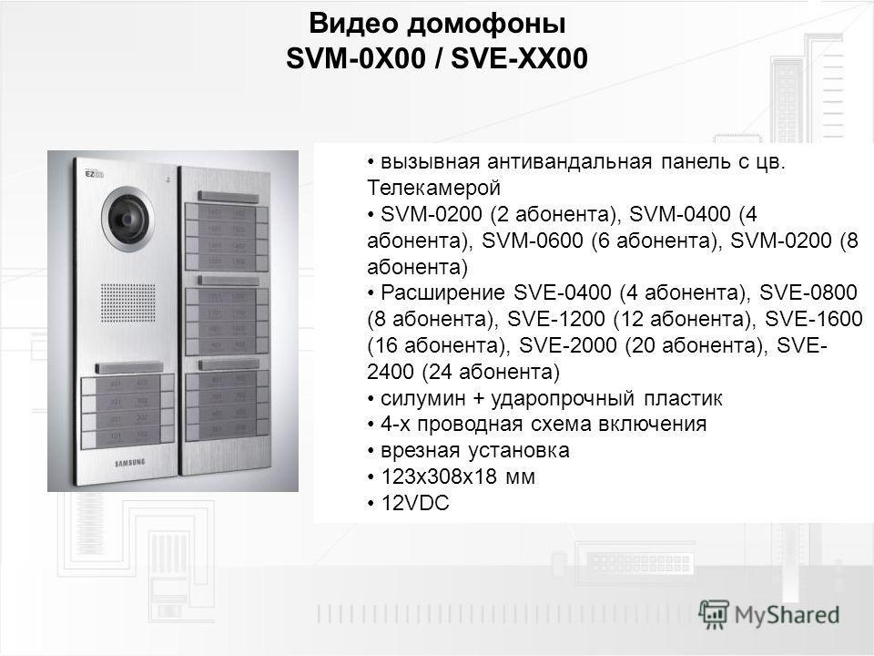 Видео домофоны SVM-0X00 / SVE-XX00 вызывная антивандальная панель с цв. Телекамерой SVM-0200 (2 абонента), SVM-0400 (4 абонента), SVM-0600 (6 абонента), SVM-0200 (8 абонента) Расширение SVE-0400 (4 абонента), SVE-0800 (8 абонента), SVE-1200 (12 абоне