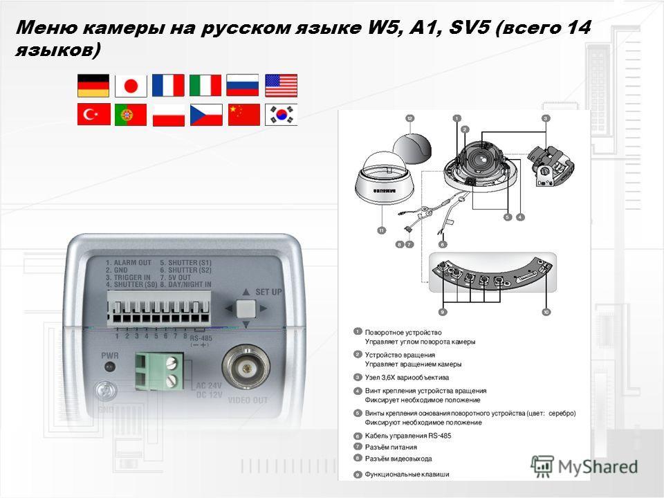 Меню камеры на русском языке W5, A1, SV5 (всего 14 языков)