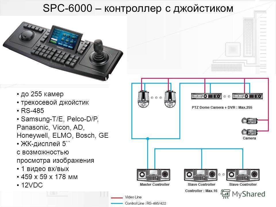 SPC-6000 – контроллер с джойстиком до 255 камер трехосевой джойстик RS-485 Samsung-T/E, Pelco-D/P, Panasonic, Vicon, AD, Honeywell, ELMO, Bosch, GE ЖК-дисплей 5`` с возможностью просмотра изображения 1 видео вх/вых 459 x 59 x 178 мм 12VDC