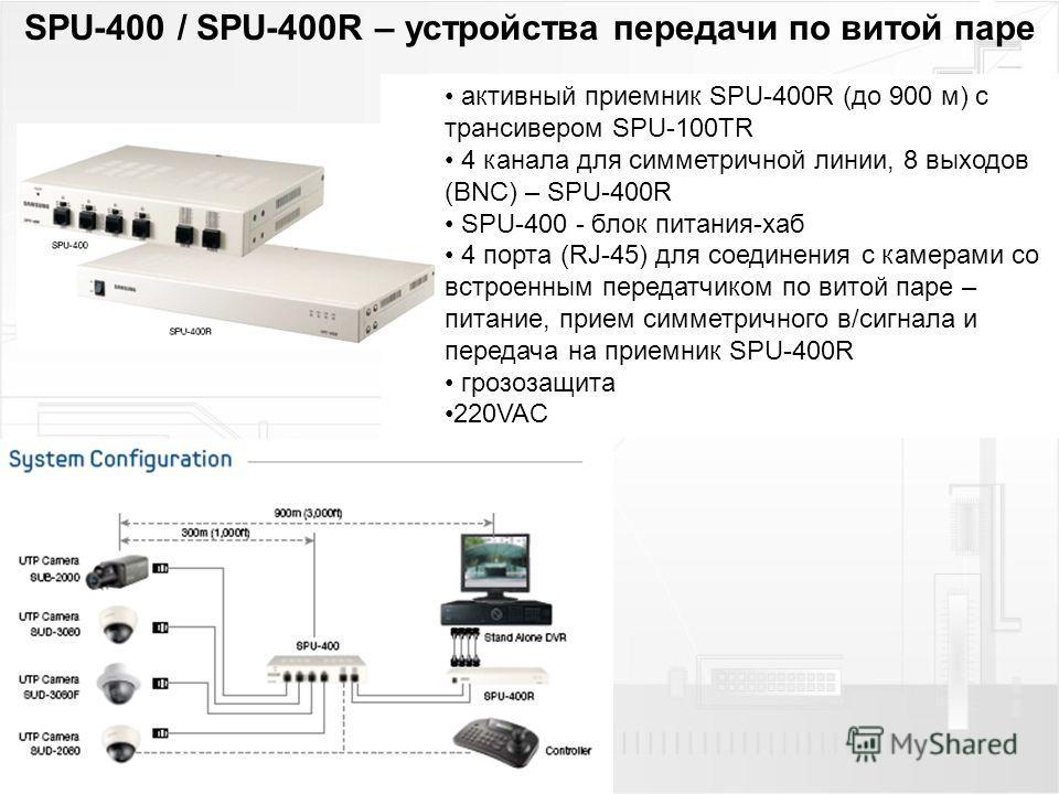 SPU-400 / SPU-400R – устройства передачи по витой паре активный приемник SPU-400R (до 900 м) с трансивером SPU-100TR 4 канала для симметричной линии, 8 выходов (BNC) – SPU-400R SPU-400 - блок питания-хаб 4 порта (RJ-45) для соединения с камерами со в