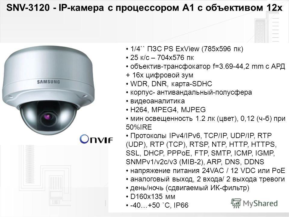 1/4`` ПЗС PS ExView (785x596 пк) 25 к/с – 704x576 пк объектив-трансфокатор f=3.69-44,2 mm с АРД + 16 х цифровой зум WDR, DNR, карта-SDHC корпус- антивандальный-полусфера видеоаналитика H264, MPEG4, MJPEG мин освещенность 1.2 лк (цвет), 0,12 (ч-б) при