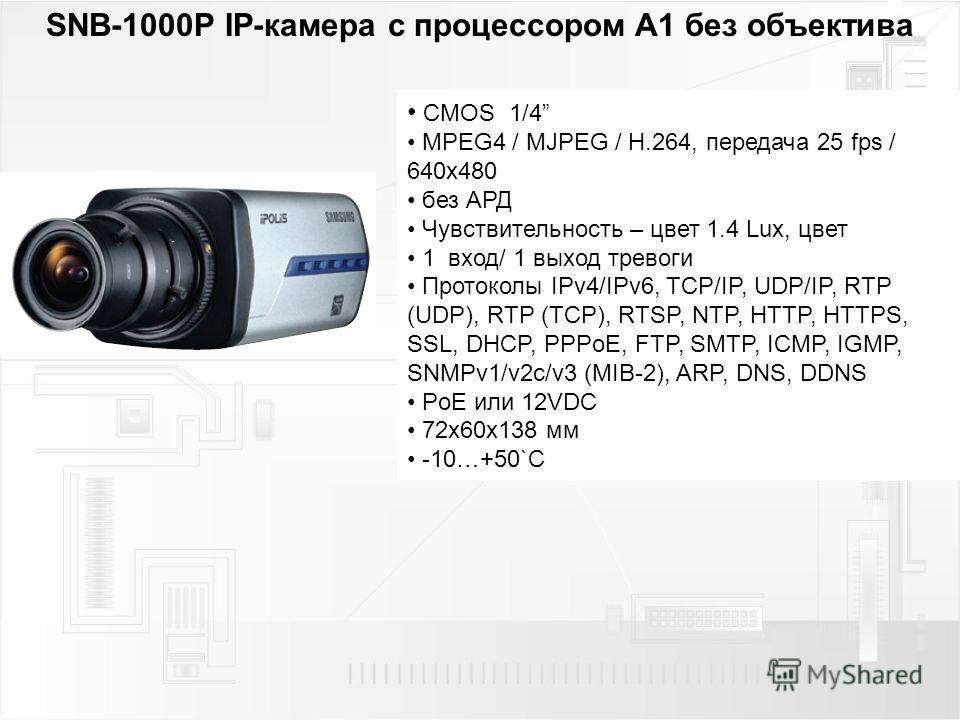 SNB-1000P IP-камера с процессором A1 без объектива CMOS 1/4 MPEG4 / MJPEG / H.264, передача 25 fps / 640 х 480 без АРД Чувствительность – цвет 1.4 Lux, цвет 1 вход/ 1 выход тревоги Протоколы IPv4/IPv6, TCP/IP, UDP/IP, RTP (UDP), RTP (TCP), RTSP, NTP,