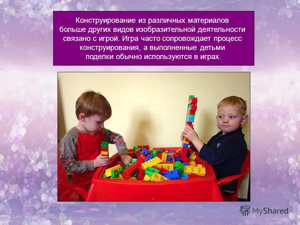 Конструирование из различных материалов больше других видов изобразительной деятельности связано с игрой. Игра часто сопровождает процесс конструирования, а выполненные детьми поделки обычно используются в играх.