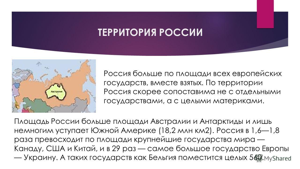ТЕРРИТОРИЯ РОССИИ Россия больше по площади всех европейских государств, вместе взятых. По территории Россия скорее сопоставима не с отдельными государствами, а с целыми материками. Площадь России больше площади Австралии и Антарктиды и лишь немногим