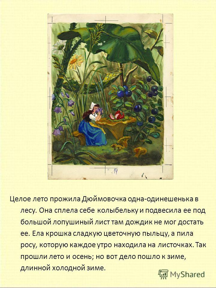 Целое лето прожила Дюймовочка одна-одинешенька в лесу. Она сплела себе колыбельку и подвесила ее под большой лопушиный лист там дождик не мог достать ее. Ела крошка сладкую цветочную пыльцу, а пила росу, которую каждое утро находила на листочках. Так