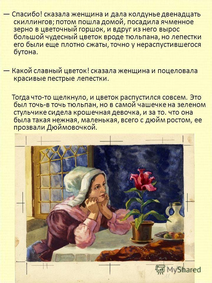 Спасибо! сказала женщина и дала колдунье двенадцать скиллингов; потом пошла домой, посадила ячменное зерно в цветочный горшок, и вдруг из него вырос большой чудесный цветок вроде тюльпана, но лепестки его были еще плотно сжаты, точно у нераспустившег