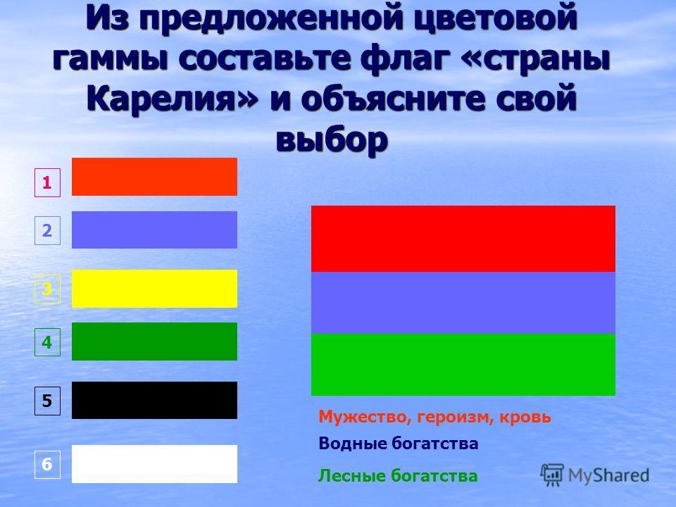 Из предложенной цветовой гаммы составьте флаг «страны Карелия» и объясните свой выбор Мужество, героизм, кровь Водные богатства Лесные богатства 1 2 3 4 5 6