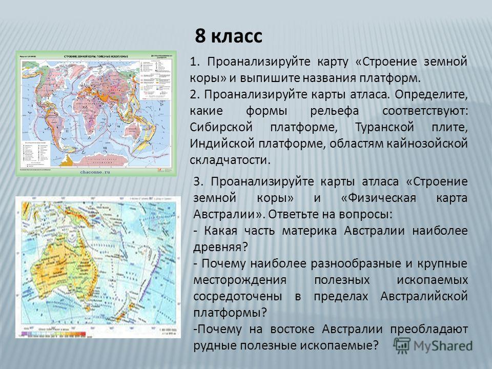 8 класс 1. Проанализируйте карту «Строение земной коры» и выпишите названия платформ. 2. Проанализируйте карты атласа. Определите, какие формы рельефа соответствуют: Сибирской платформе, Туранской плите, Индийской платформе, областям кайнозойской скл