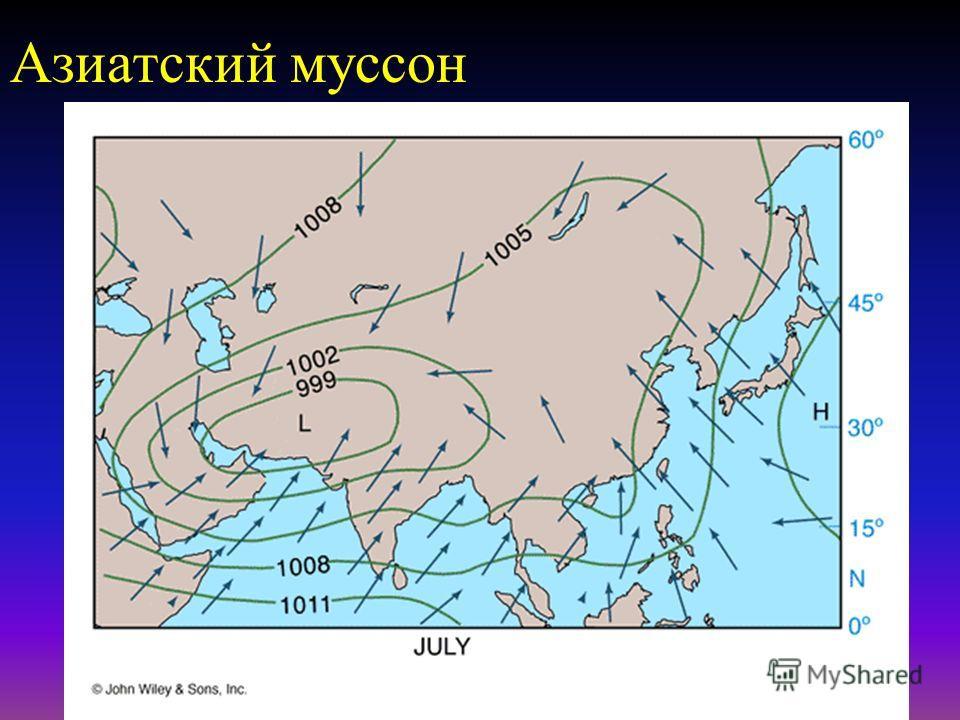 Среднее глобальное давление на поверхности - июль