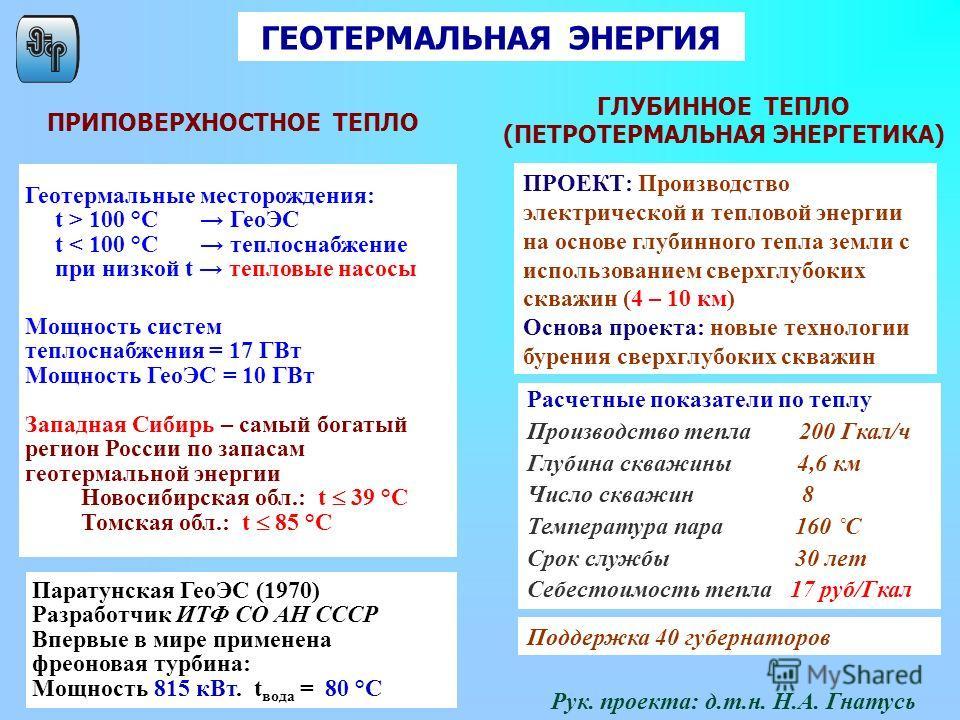 Геотермальные месторождения: t > 100 °C ГеоЭС t < 100 °C теплоснабжение при низкой t тепловые насосы Мощность систем теплоснабжения = 17 ГВт Мощность ГеоЭС = 10 ГВт Западная Сибирь – самый богатый регион России по запасам геотермальной энергии Новоси