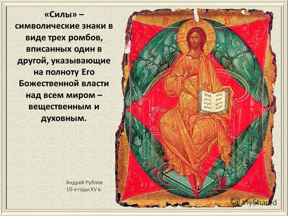 Андрей Рублев 10-е годы XV в. «Силы» – символические знаки в виде трех ромбогв, вписанных один в другой, указывающие на полноту Его Божественной власти над всем миром – вещественным и духовным.