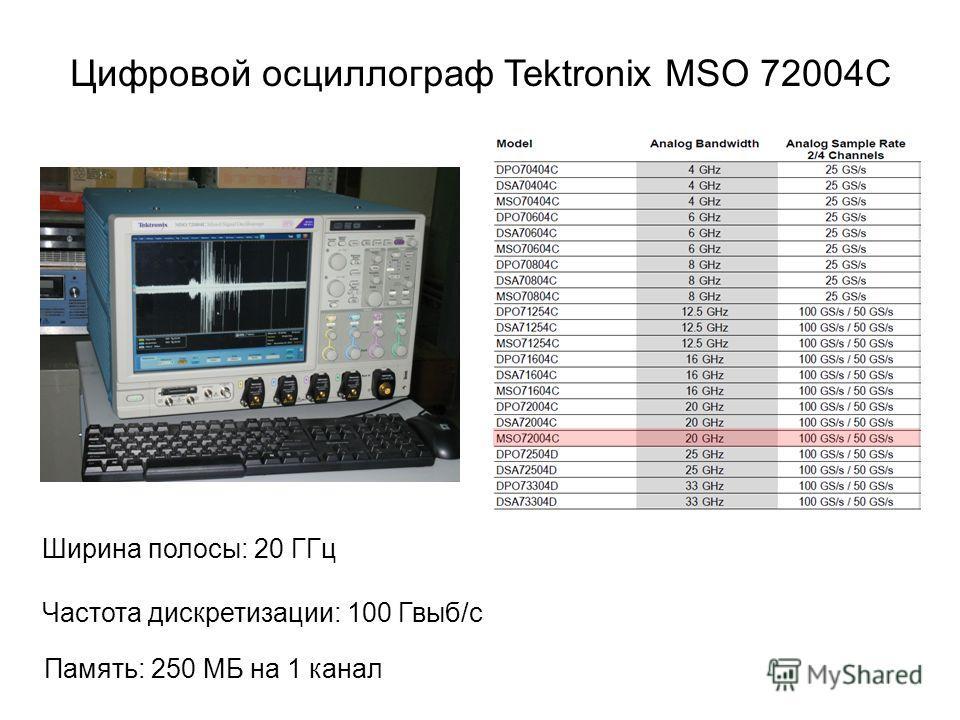 Цифровой осциллограф Tektronix MSO 72004C Ширина полосы: 20 ГГц Частота дискретизации: 100 Гвыб/с Память: 250 MБ на 1 канал