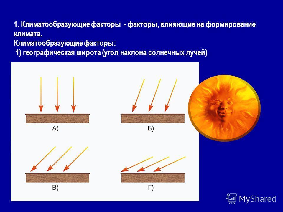 1. Климатообразующие факторы - факторы, влияющие на формирование климата. Климатообразующие факторы: 1) географическая широта (угол наклона солнечных лучей)