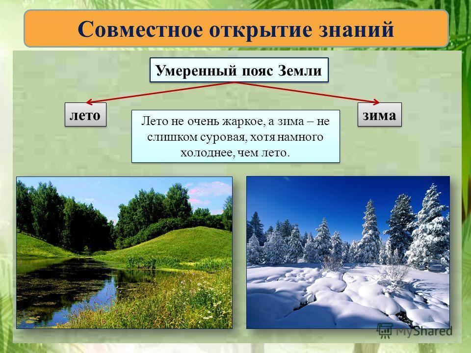 Умеренный пояс Земли лето зима Лето не очень жаркое, а зима – не слишком суровая, хотя намного холоднее, чем лето. Лето не очень жаркое, а зима – не слишком суровая, хотя намного холоднее, чем лето.