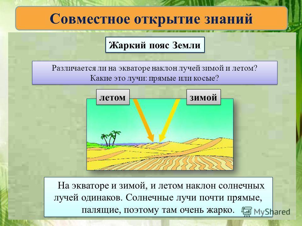 Совместное открытие знаний Различается ли на экваторе наклон лучей зимой и летом? Какие это лучи: прямые или косые? Различается ли на экваторе наклон лучей зимой и летом? Какие это лучи: прямые или косые? летом зимой На экваторе и зимой, и летом накл