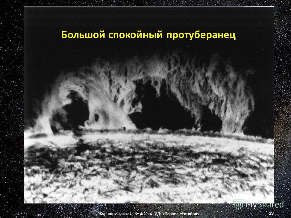 Большой спокойный протуберанец 19 Журнал «Физика» 4/2014. ИД «Первое сентября»
