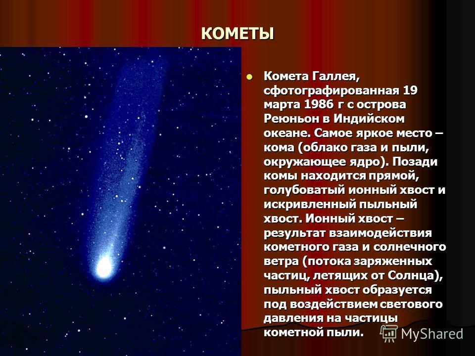 КОМЕТЫ Комета Галлея, сфотографированная 19 марта 1986 г с острова Реюньон в Индийском океане. Самое яркое место – кома (облако газа и пыли, окружающее ядро). Позади комы находится прямой, голубоватый ионный хвост и искривленный пыльный хвост. Ионный