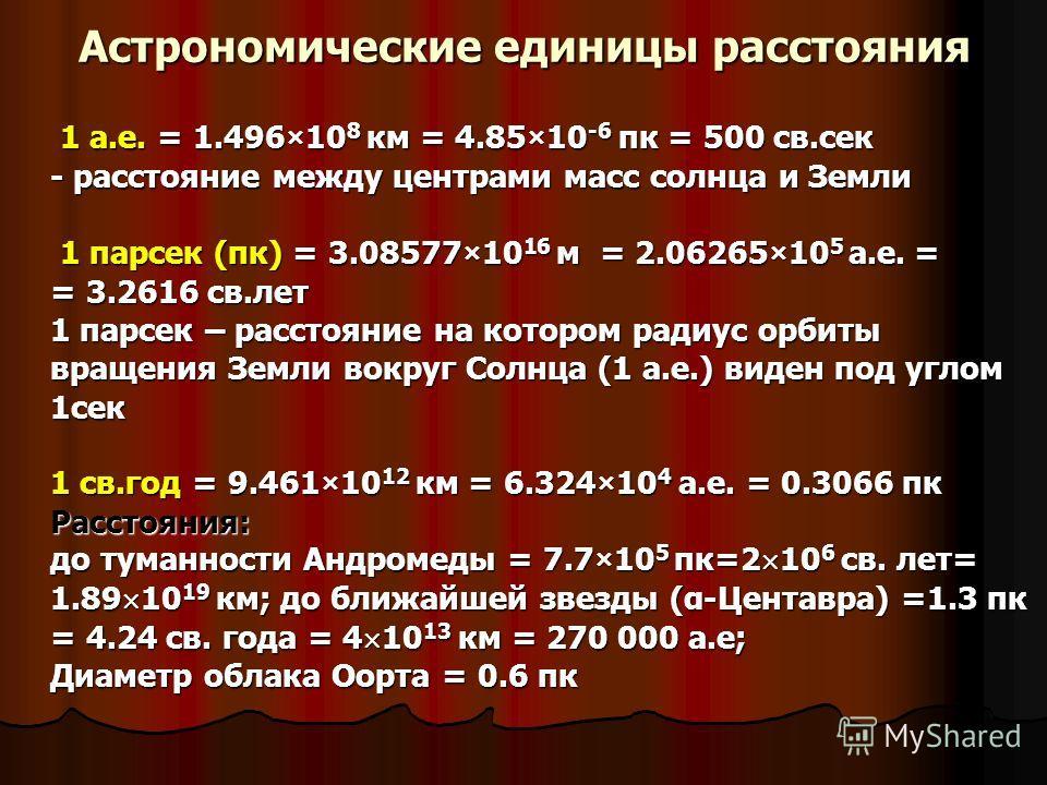 Астрономические единицы расстояния 1 а.е. = 1.496×10 8 км = 4.85×10 -6 пк = 500 св.сек - расстояние между центрами масс солнца и Земли 1 парсек (пк) = 3.08577×10 16 м = 2.06265×10 5 а.е. = = 3.2616 св.лет 1 парсек – расстояние на котором радиус орбит