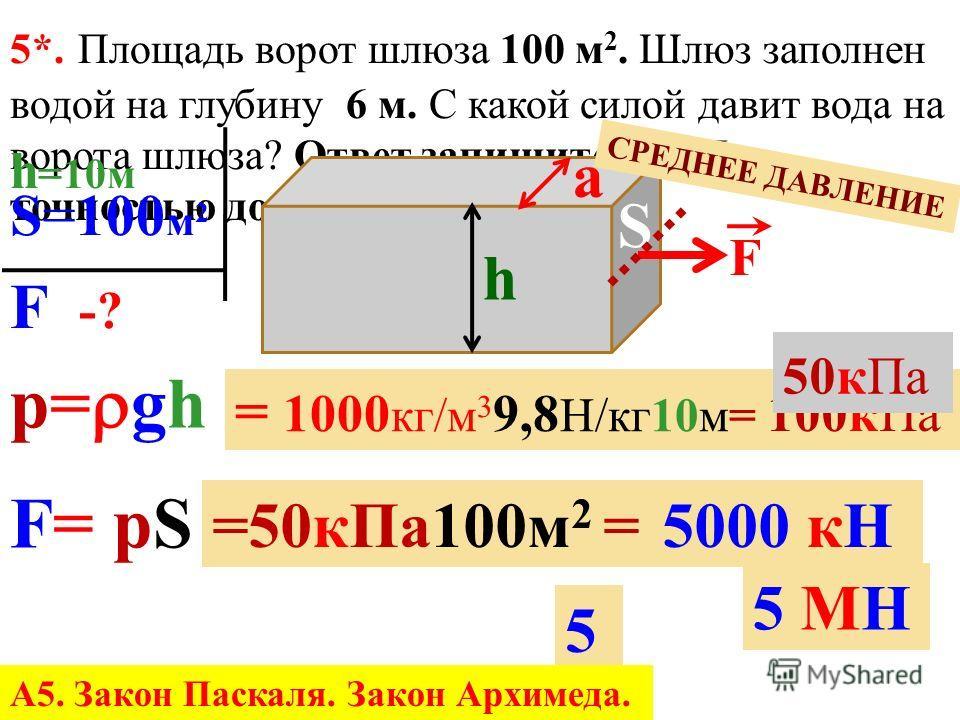 5*. С какой силой давит вода на каждые 10 м 2 поверхности тела человека на глубине 40 м? Ответ запишите в МН с точностью до десятых. р= gh F= pS р= 1000 кг/м 3 9,8 Н/кг 40 м 0,4МПа =0,4МПа 10 м 2 =4МН4МН 4 h =40 м S=10 м 2 V F -? А5. Закон Паскаля. З