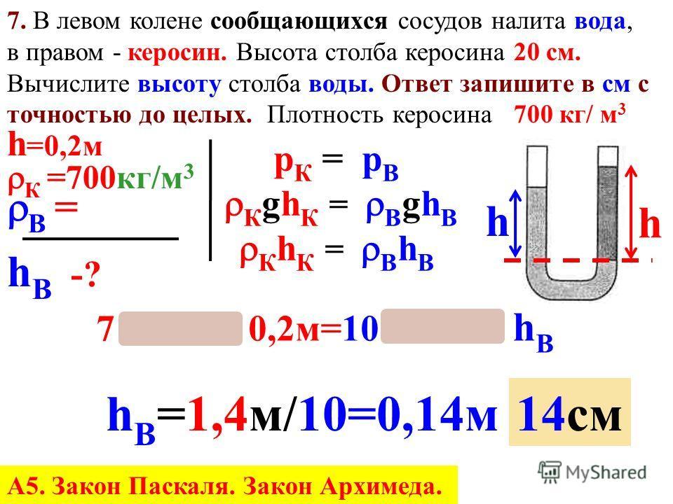 7. В каком сосуде (рис. 7) минимальное давление и на сколько меньше атмосферного? Ответ запишите в к Па с точностью до целых. р= gh = 13600 кг/м 3 9,8 Н/кг 0,07 м= ОДИНАКОВО Больше атмосферного 9520Па меньше атмосферного = 13600 кг/м 3 9,8 Н/кг 0,05